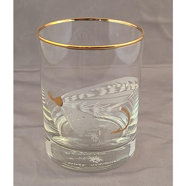 1990s Set 4 New Old Stock Winnie Staniford Designs Gold Rimmed Fly Fishing Rocks Glasses For Sale - Image 5 of 9