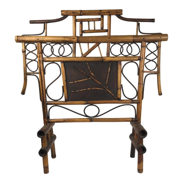 Vintage Bamboo Standing Fireplace Screen Table Top Room Screen For Sale