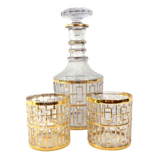 Imperial Glass 24KT Gold Decanter And Glasses