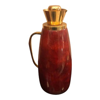 1960s Italian Mid-Century Modern Aldo Tura Red Goatskin and Brass Thermos Carafe For Sale