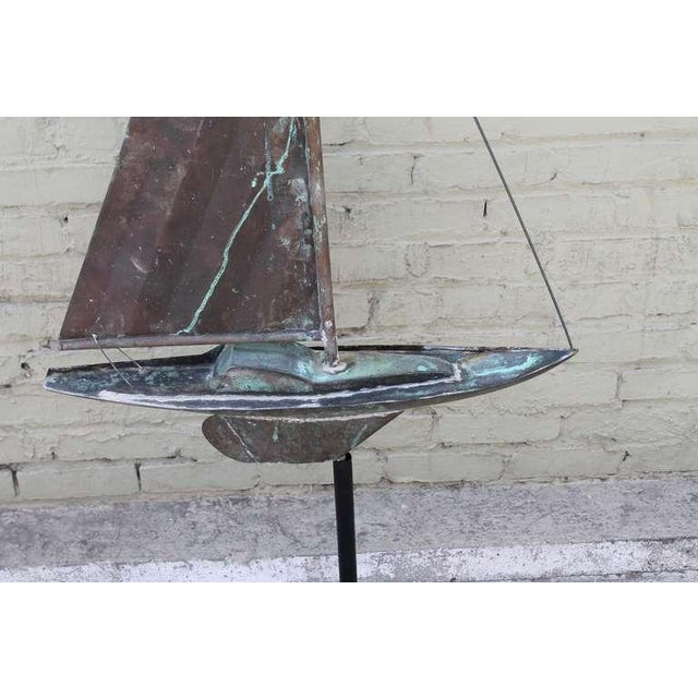 19th c. New England Folk Art Copper Sailboat Weather Vane For Sale - Image 4 of 8