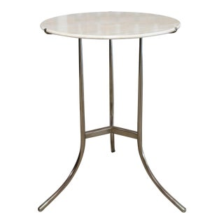 Mid-Century Modern Cedric Hartman Nickel and Marble Side Table