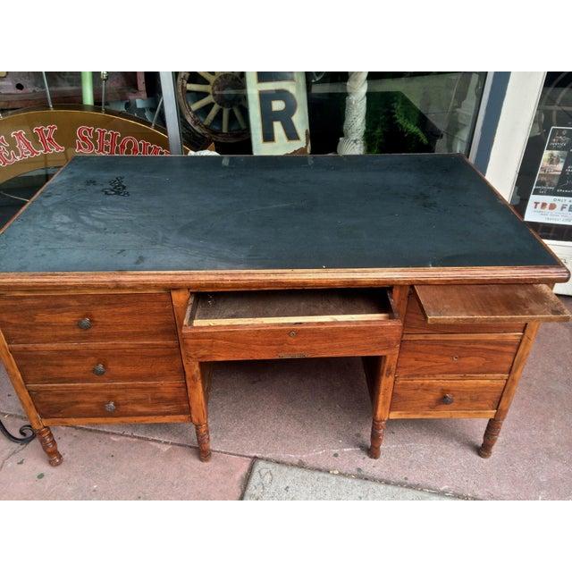 Arts & Crafts Slate-Top Wood Desk For Sale - Image 9 of 11
