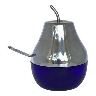 Cobalt & Chrome Jelly Pot & Spoon For Sale