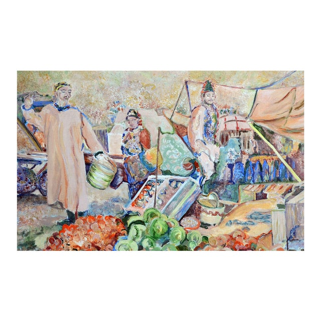 Nancy Gray Oriental Village Market Painting - Image 2 of 2