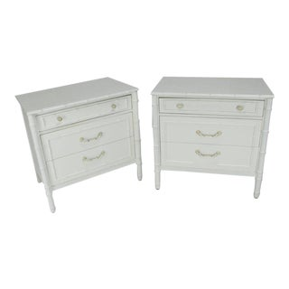 Mid-Century Modern White Lacquer Faux Bamboo Nightstands - a Pair For Sale
