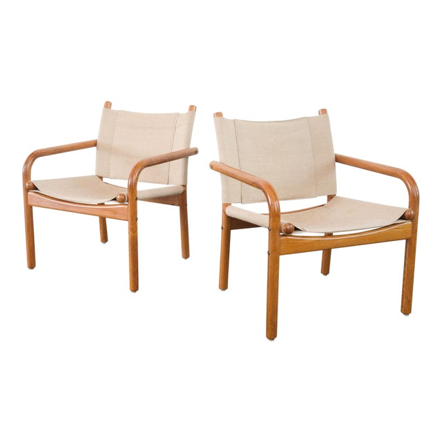 Mid-Century Danish Safari Chairs - A Pair For Sale