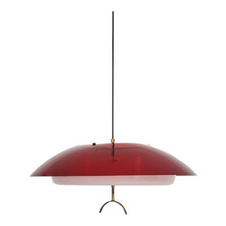Mid-Century Italian Modern Pendant Light Fixture by Stilux, Italy Chandelier For Sale