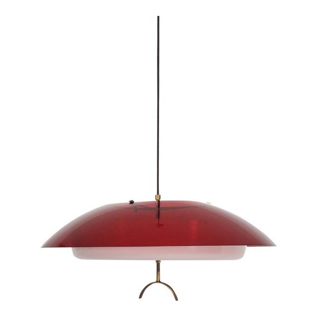 Mid-Century Italian Modern Pendant Light Fixture by Stilux, Italy Chandelier For Sale