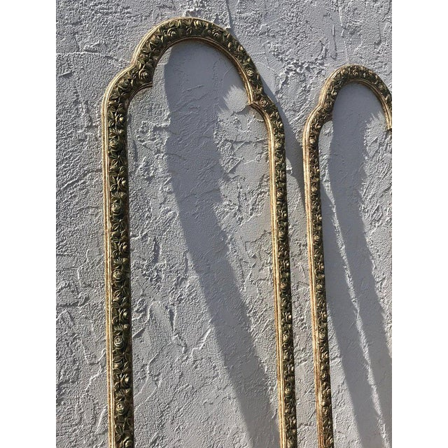 Pair of French Style Architectural Carved Parcel Gilt Rose Motif Wall Appliqués For Sale - Image 10 of 12