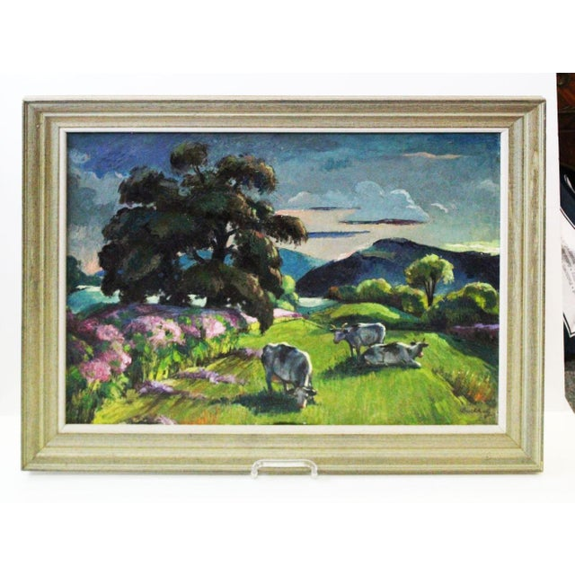 """""""Eventide"""" Cow Oil Painting by Buchholz For Sale - Image 9 of 9"""