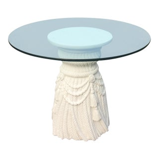 Hollywood Regency Plaster Tassel Table With Glass Top For Sale
