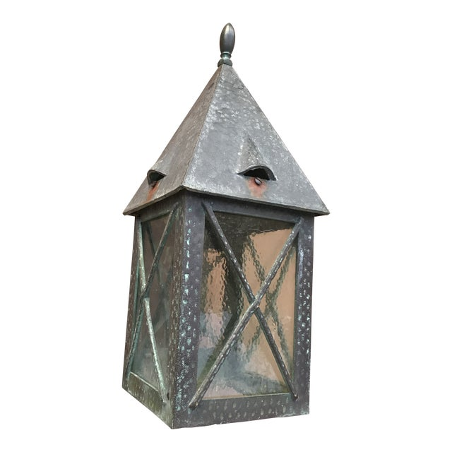 Vintage Tudor Style Bronze Outdoor Wall Sconce For Sale
