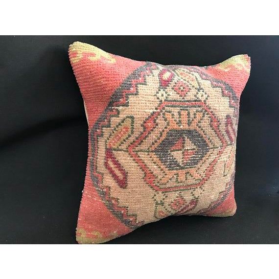 1960's Turkish Tribal Handwoven Oushak Pillow For Sale - Image 6 of 11