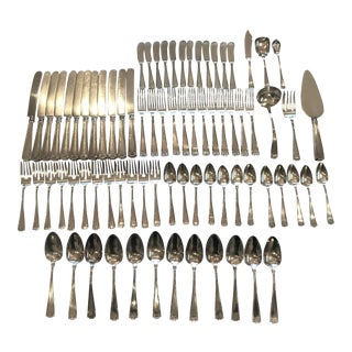 Gorham Sterling Silver Etruscan Pattern Dinner Flatware Service for Twelve - 78 Piece Set For Sale