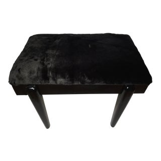 Vintage Mid-Century Modern Black Lacquered Vanity Bench For Sale