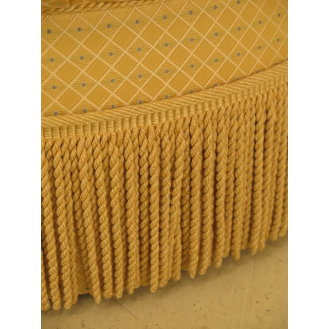 Traditional Edward Ferrell Ltd Round Tufted Yellow Ottoman For Sale - Image 4 of 7