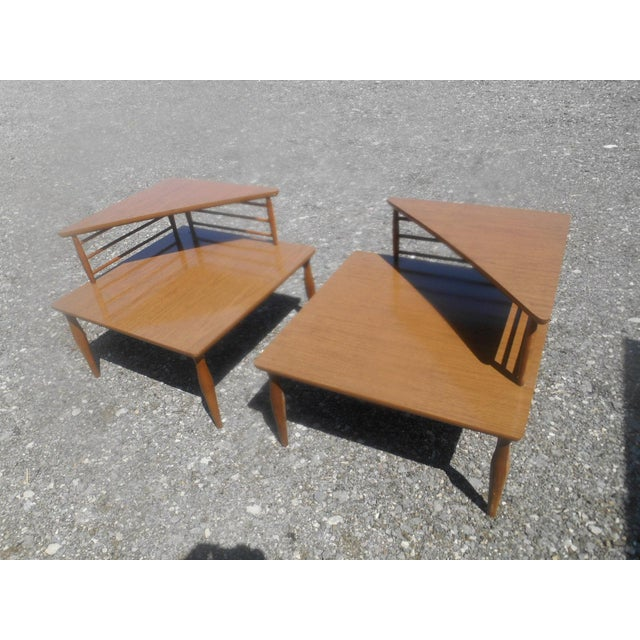 Wood 1960's Danish Modern Baumritter Corner End Side Tables- a Pair For Sale - Image 7 of 11