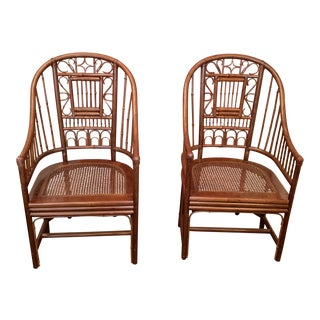 Vintage Mid Century Brighton Chinoiserie Armchairs- A Pair For Sale
