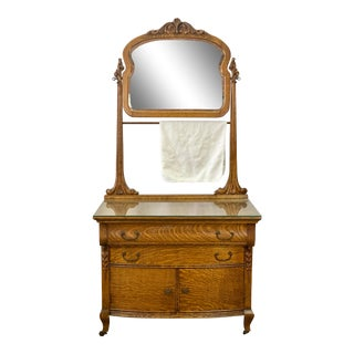 Antique Late 1800s Continental Furniture American Tiger Oak Washstand / Chest & Mirror For Sale