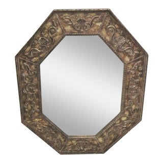 Octaganol Distressed Painted Mirror For Sale