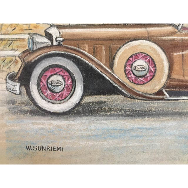 Original Vintage 1950 S Pastel Lincoln Car Drawing Chairish