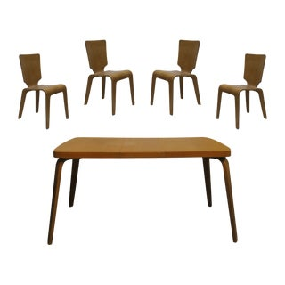 1940s Vintage Thaden-Jordan Birch Bentwood Dining Table and Chair Set- 5 Pieces For Sale