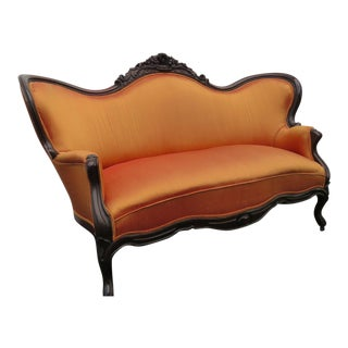 Late 1800s Victorian Hand Carved Loveseat Settee Sofa Couch For Sale