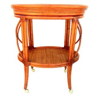 Vintage Ethan Allen Bamboo Rattan Bar Cart