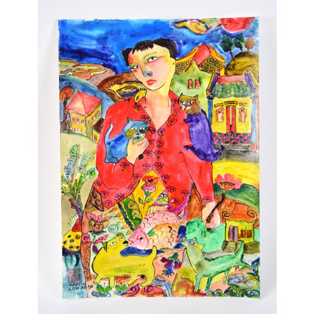 """Original """"Young & Pretty"""" Mixed Media Painting by Martin Loh For Sale - Image 10 of 10"""