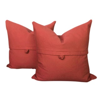 Contemporary Red Cotton Twill Pillows - a Pair