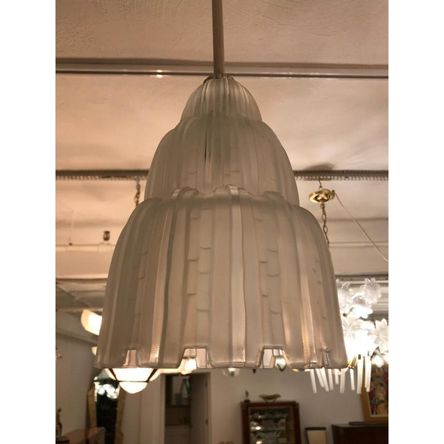 French Art Deco Waterfall Chandeliers Signed by Sabino - a Pair For Sale In New York - Image 6 of 11