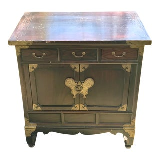 Vintage Chinese Ming Style Wooden Cabinet Chest With Brass Butterfly Latch For Sale