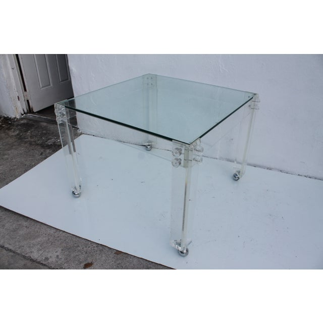 Square Lucite Dining Table Base - Image 3 of 8