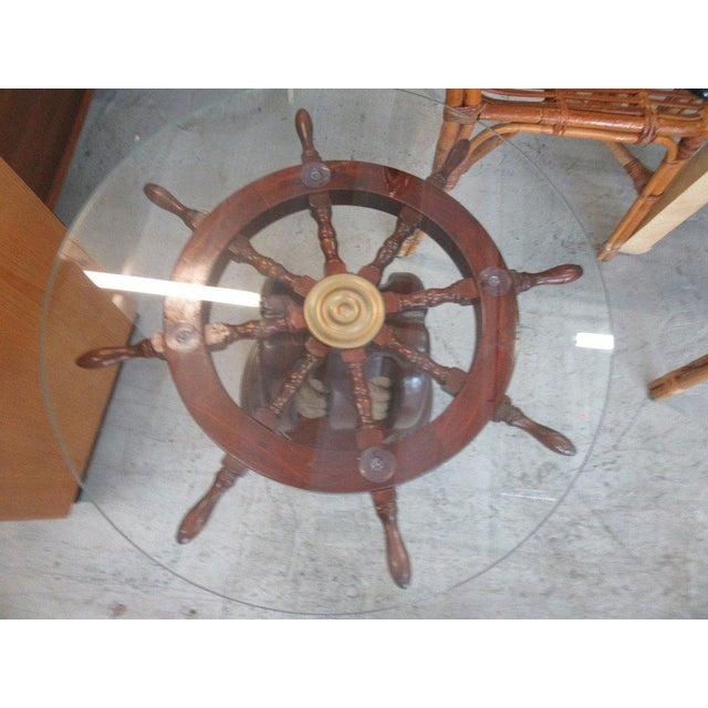 Ship Wheel & Pully Maritime Table - Image 5 of 6