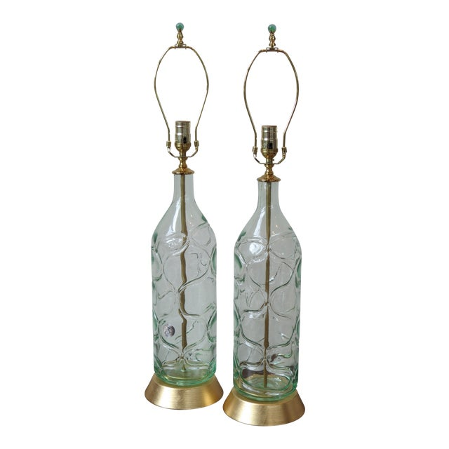 Modern Green Blown Glass Lamps - A Pair - Image 1 of 9