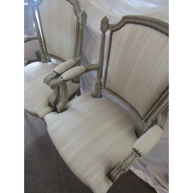 Gray Carved Wood Side Chairs - A Pair - Image 3 of 3