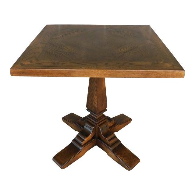 Romweber Viking Oak Pedestal Game or Dinner Table 32 X 32 For Sale