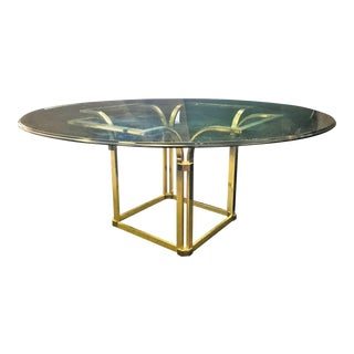 """Italian 72"""" Round Glass and Brass Dining Table in the Style of Romeo Rega For Sale"""