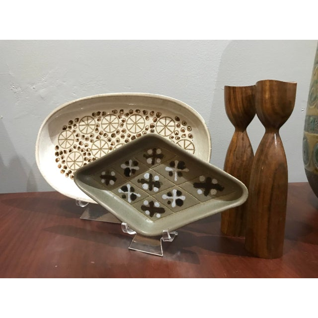 """Beautiful handmade pottery tray with starbursts Measures 10.25"""" long by 6.25"""" wide by 1"""" deep"""