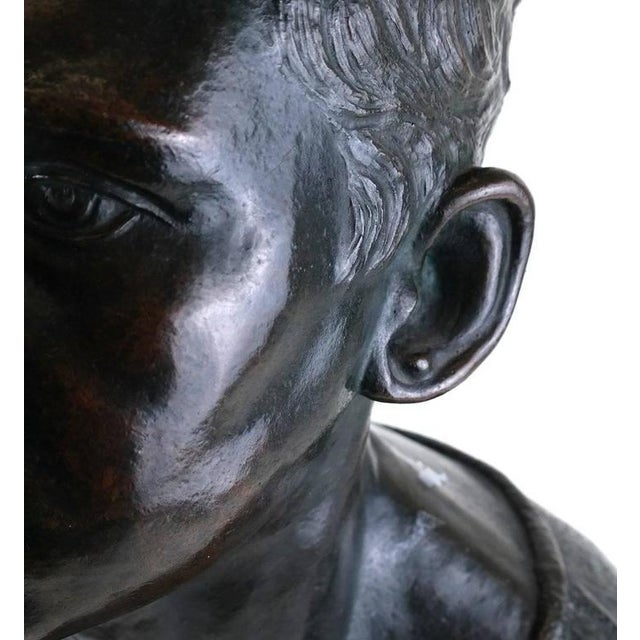 Life Sized Cast Bronze Young Boy Bust on Oval Base For Sale In Houston - Image 6 of 8