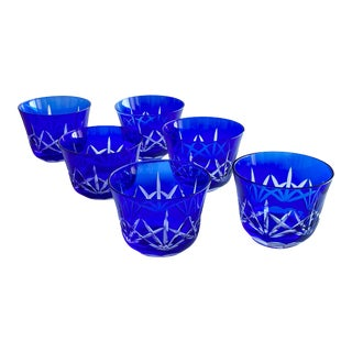 Cut to Clear Cobalt Blue Rocks Cocktail Glasses - Set of 6 For Sale