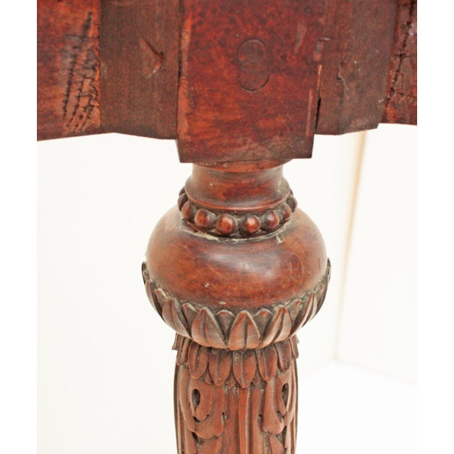 Oval Deco Carved Fruitwood Occasional Table For Sale - Image 5 of 7