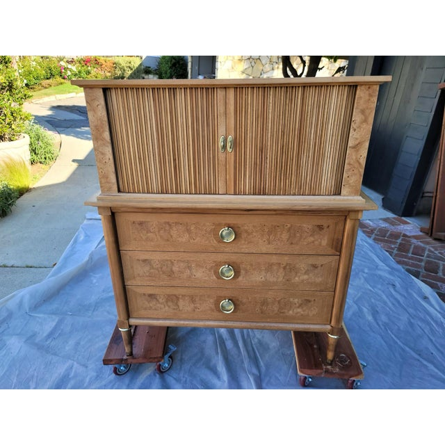 Mid-Century Burled Wood Highboy Dresser For Sale - Image 11 of 13