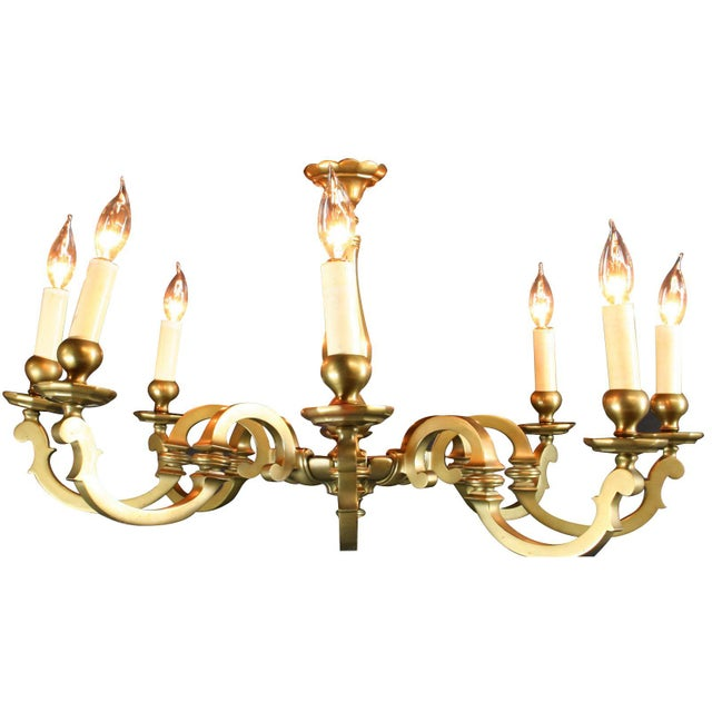 Vintage 1950 French Brass 8-Arm Chandelier - Image 1 of 7