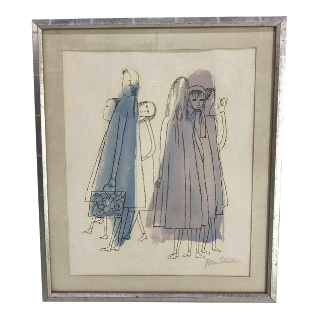 """Ben Shahn """"Two Days of Childhood That Are Still Unexplained"""" Original Signed Lithograph, 1968 For Sale"""