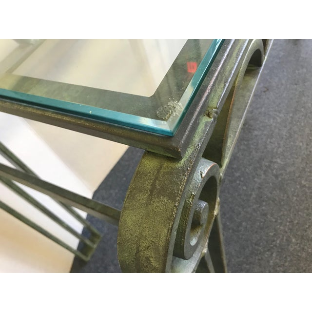 Green Neoclassical Iron Scroll Console Table in a Verdigris Finish For Sale - Image 8 of 12