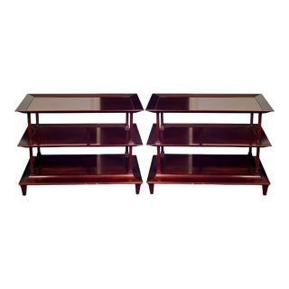 Large Pair of Mahogany Baker Asian Style Side Tables For Sale
