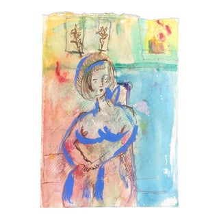 Vintage Watercolor Painting of Female Nude