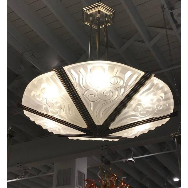 Degue French Art Deco Geometric Chandelier - Image 7 of 7